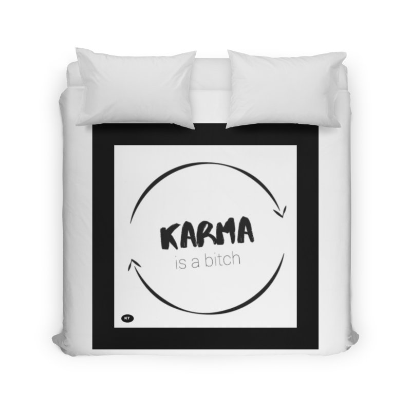 Karma Is A Bitch: Black and White Home Duvet by Karmic Reaction Art