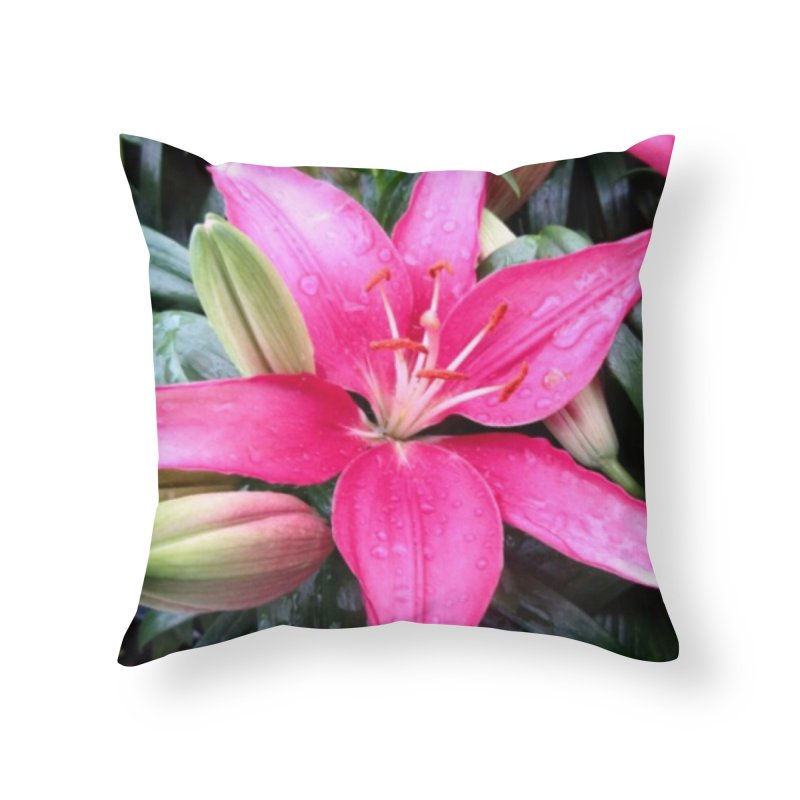 Pink Flower Home Throw Pillow by Karmic Reaction Art