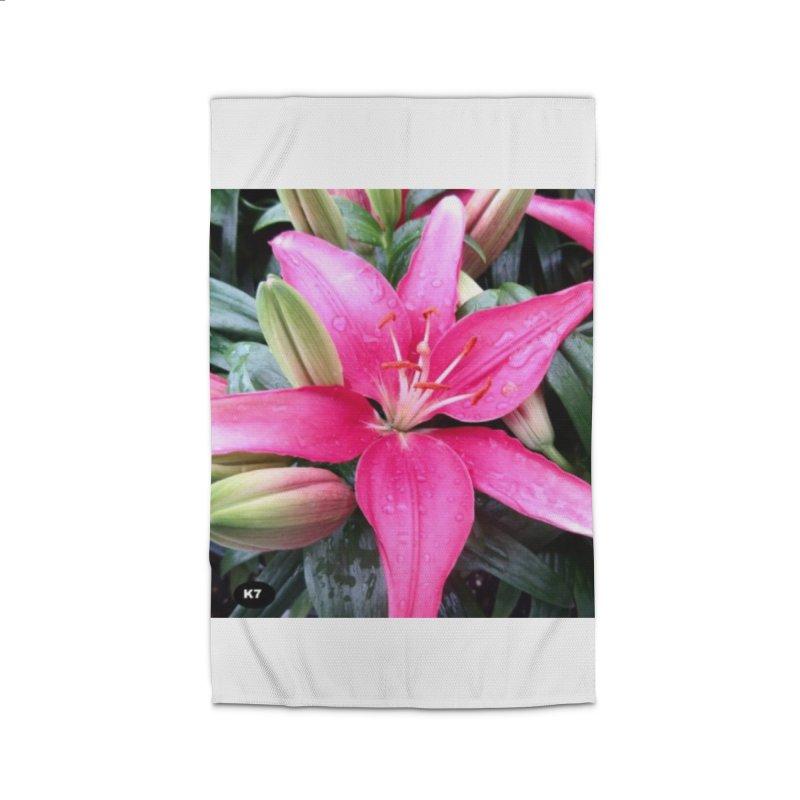 Pink Flower Home Rug by Karmic Reaction Art