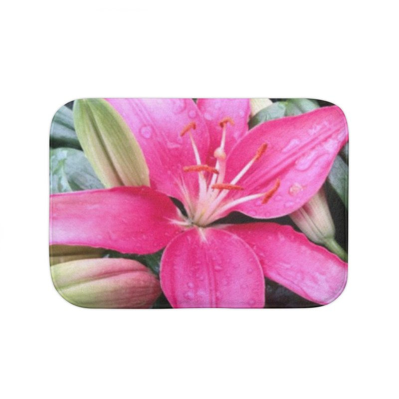 Pink Flower Home Bath Mat by Karmic Reaction Art
