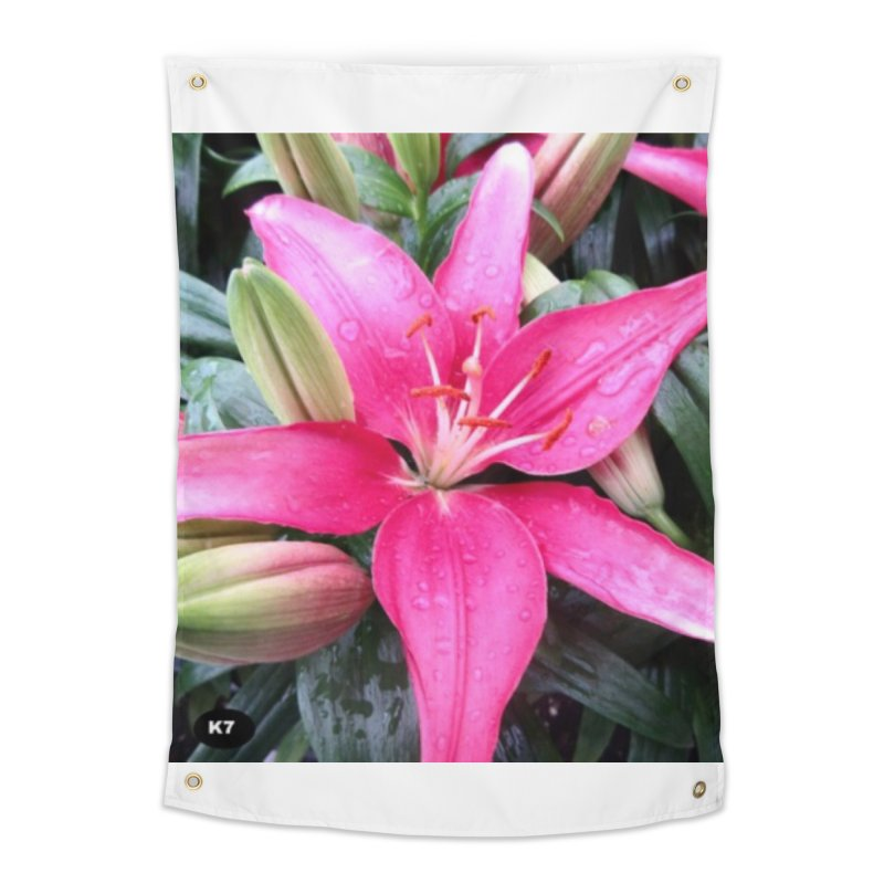 Pink Flower Home Tapestry by Karmic Reaction Art