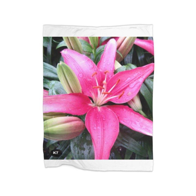 Pink Flower Home Fleece Blanket Blanket by Karmic Reaction Art