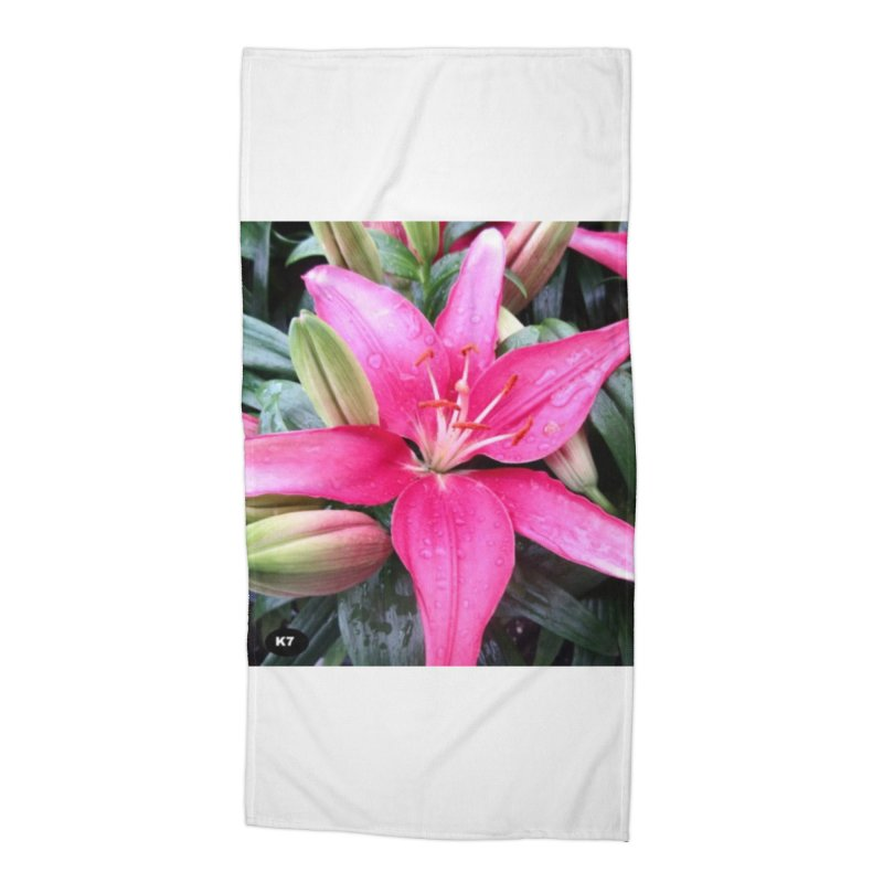 Pink Flower Accessories Beach Towel by Karmic Reaction Art