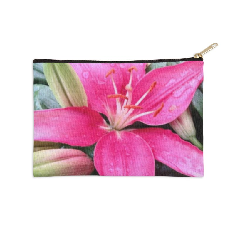 Pink Flower Accessories Zip Pouch by Karmic Reaction Art