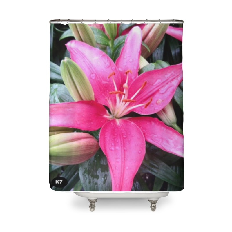 Pink Flower Home Shower Curtain by Karmic Reaction Art
