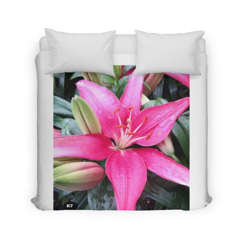 Pink Flower Home Duvet by Karmic Reaction Art