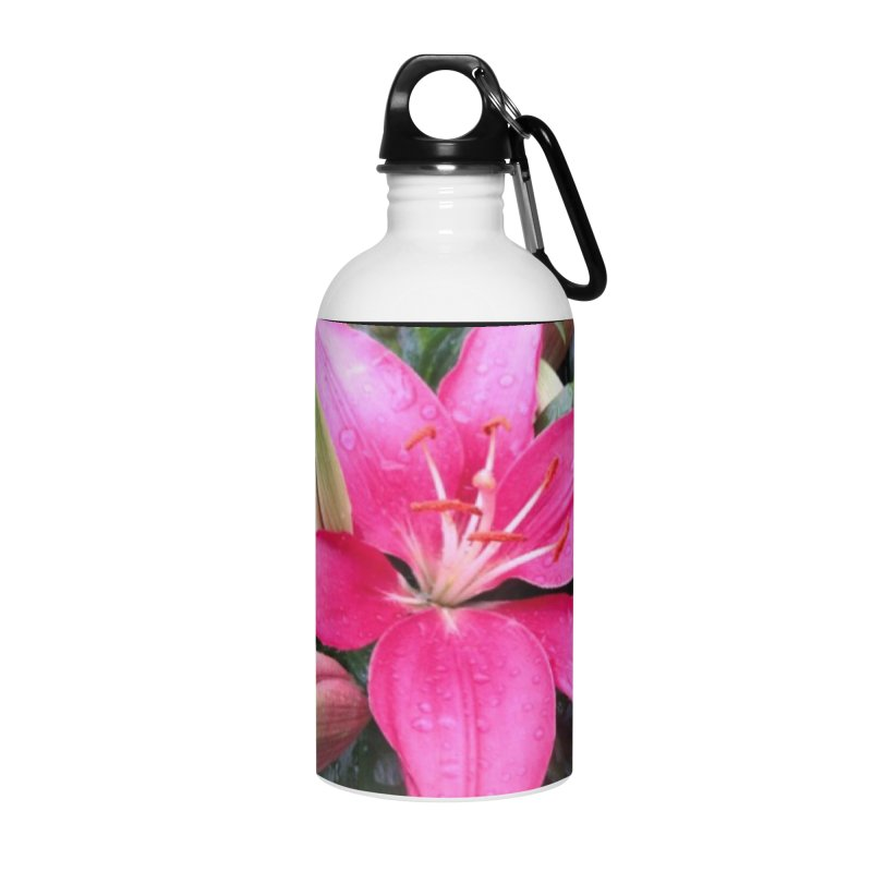Pink Flower Accessories Water Bottle by Karmic Reaction Art