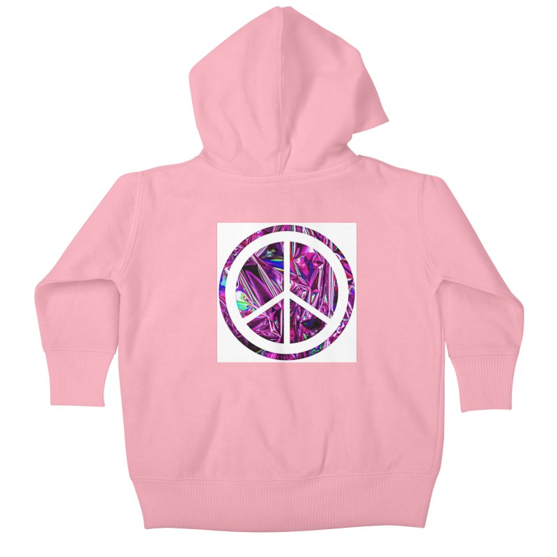 Peace 3 Kids Baby Zip-Up Hoody by Karmic Reaction Art