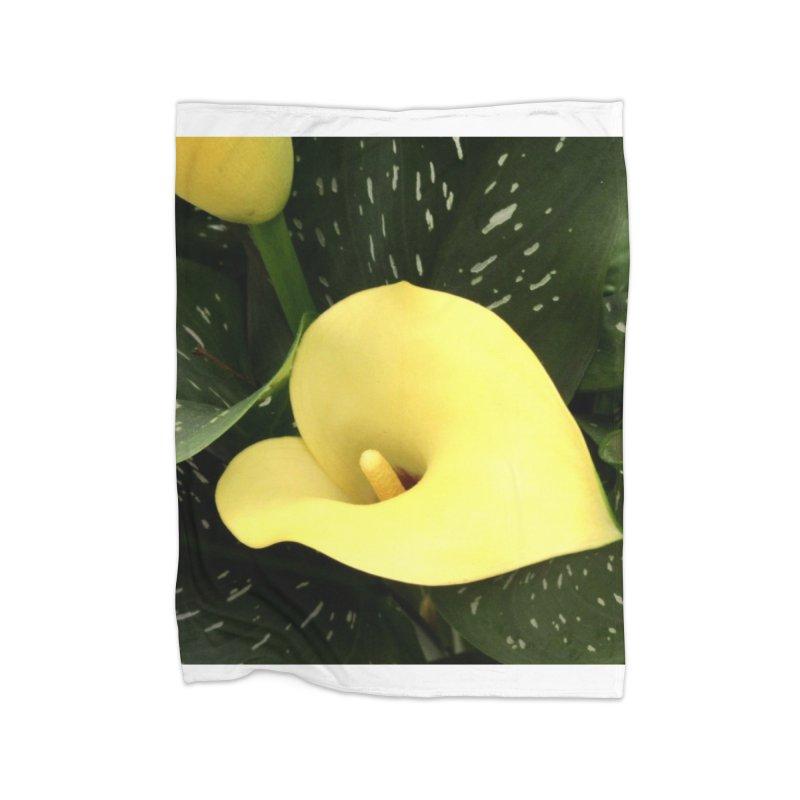Yellow flower 3 Home Fleece Blanket Blanket by Karmic Reaction Art