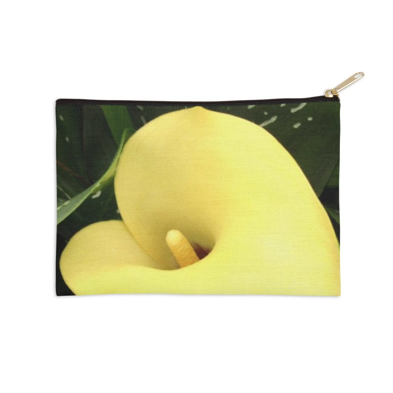 Yellow flower 3 Accessories Zip Pouch by Karmic Reaction Art