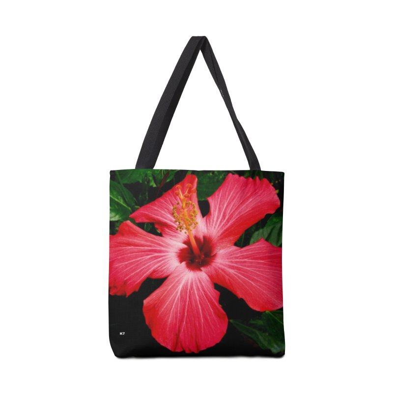 Red Flower Accessories Tote Bag Bag by Karmic Reaction Art