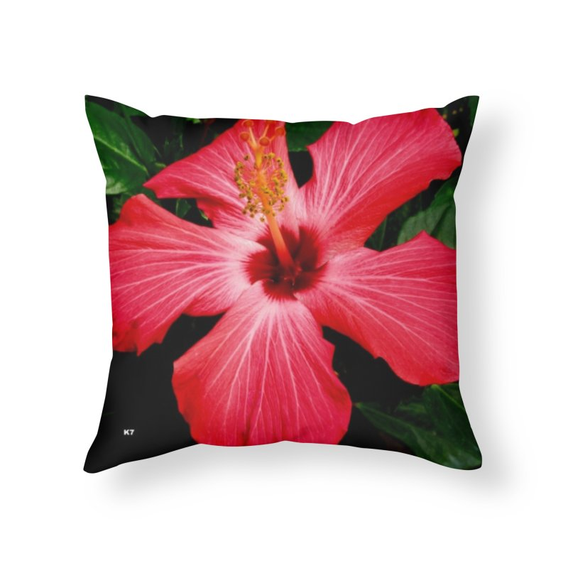 Red Flower Home Throw Pillow by Karmic Reaction Art