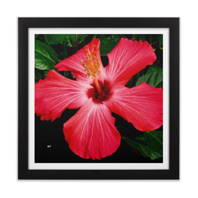 Red Flower Home Framed Fine Art Print by Karmic Reaction Art