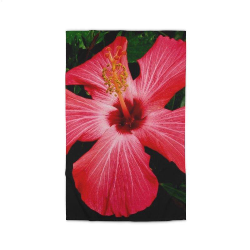 Red Flower Home Rug by Karmic Reaction Art