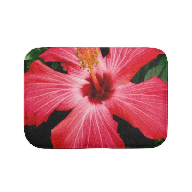 Red Flower Home Bath Mat by Karmic Reaction Art