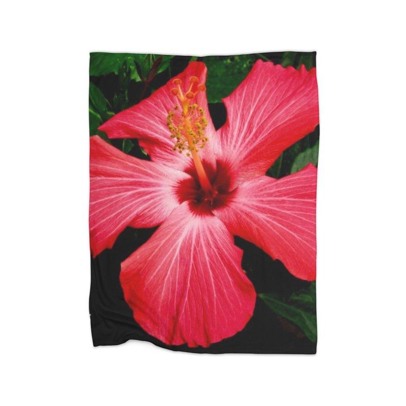 Red Flower Home Fleece Blanket Blanket by Karmic Reaction Art