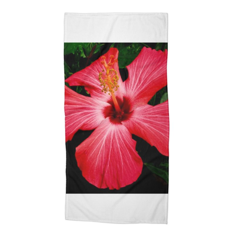 Red Flower Accessories Beach Towel by Karmic Reaction Art