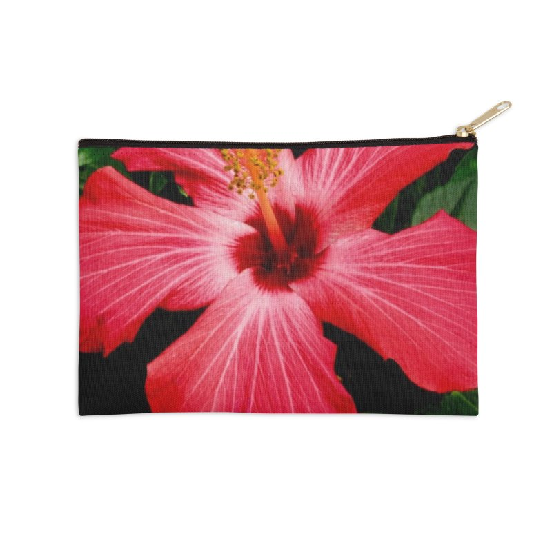 Red Flower Accessories Zip Pouch by Karmic Reaction Art