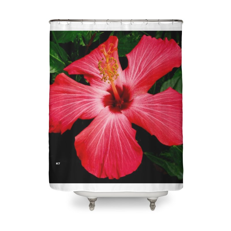 Red Flower Home Shower Curtain by Karmic Reaction Art
