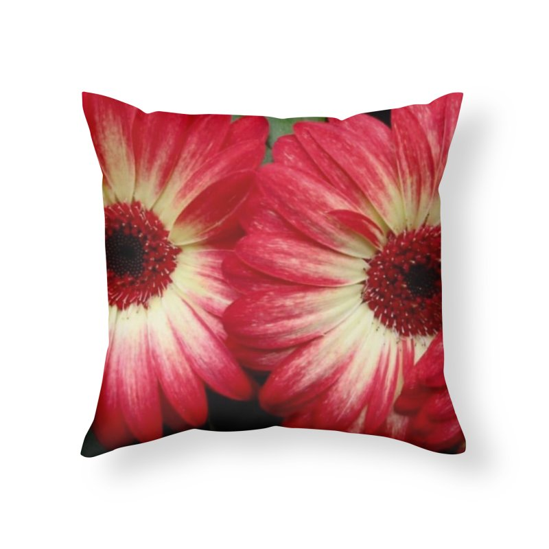 Red and Yellow Flowers Home Throw Pillow by Karmic Reaction Art