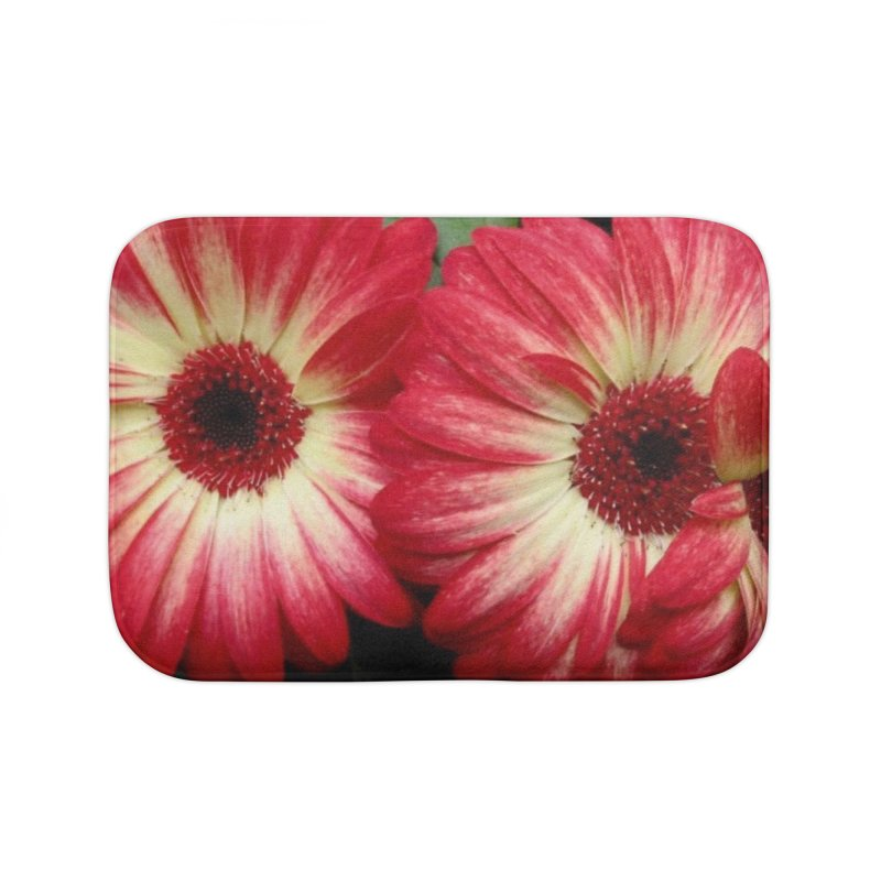 Red and Yellow Flowers Home Bath Mat by Karmic Reaction Art