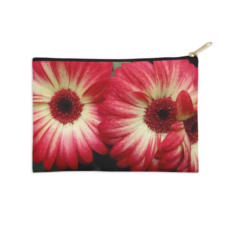 Red and Yellow Flowers Accessories Zip Pouch by Karmic Reaction Art
