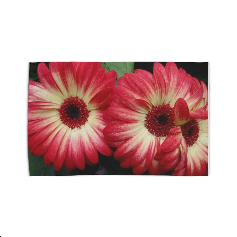 Red and Yellow Flowers Home Rug by Karmic Reaction Art