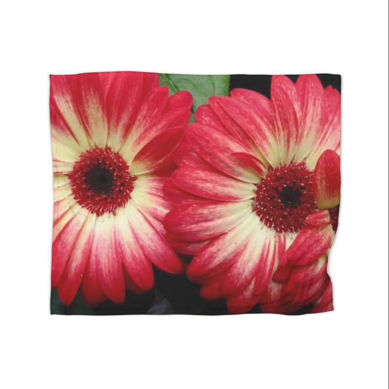Red and Yellow Flowers Home Fleece Blanket Blanket by Karmic Reaction Art