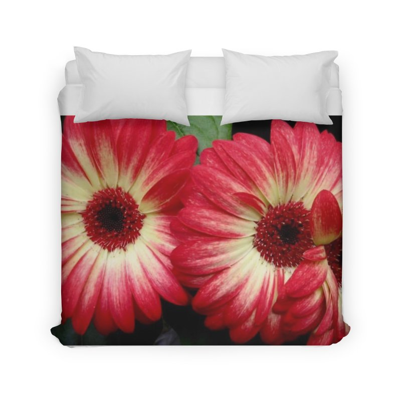 Red and Yellow Flowers Home Duvet by Karmic Reaction Art
