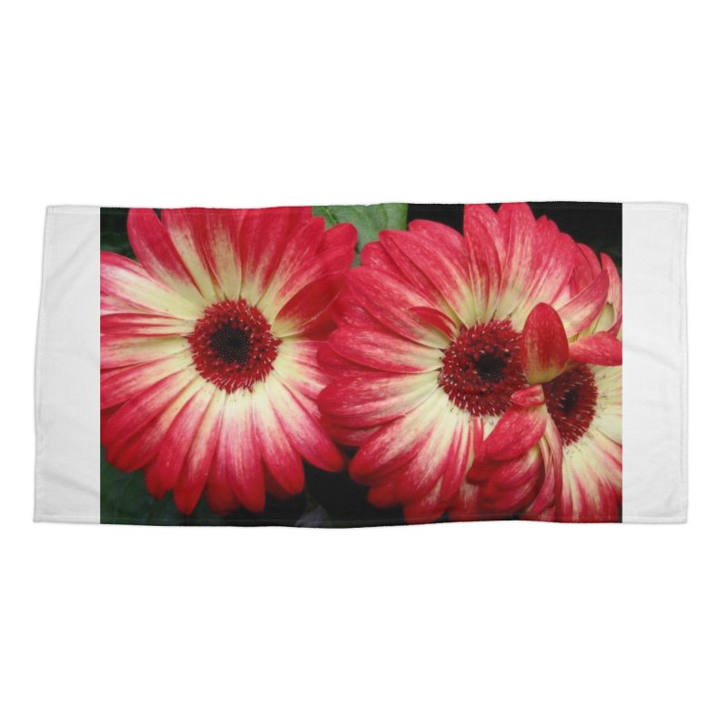 Red and Yellow Flowers Accessories Beach Towel by Karmic Reaction Art