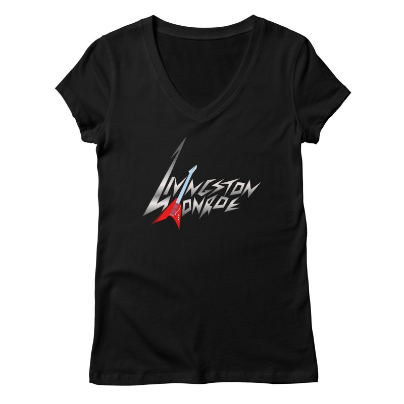 Livingston Monroe, the rock band in the novel, Whispers On A String (design by David Strover) Women's V-Neck by KathleenStone's Artist Shop