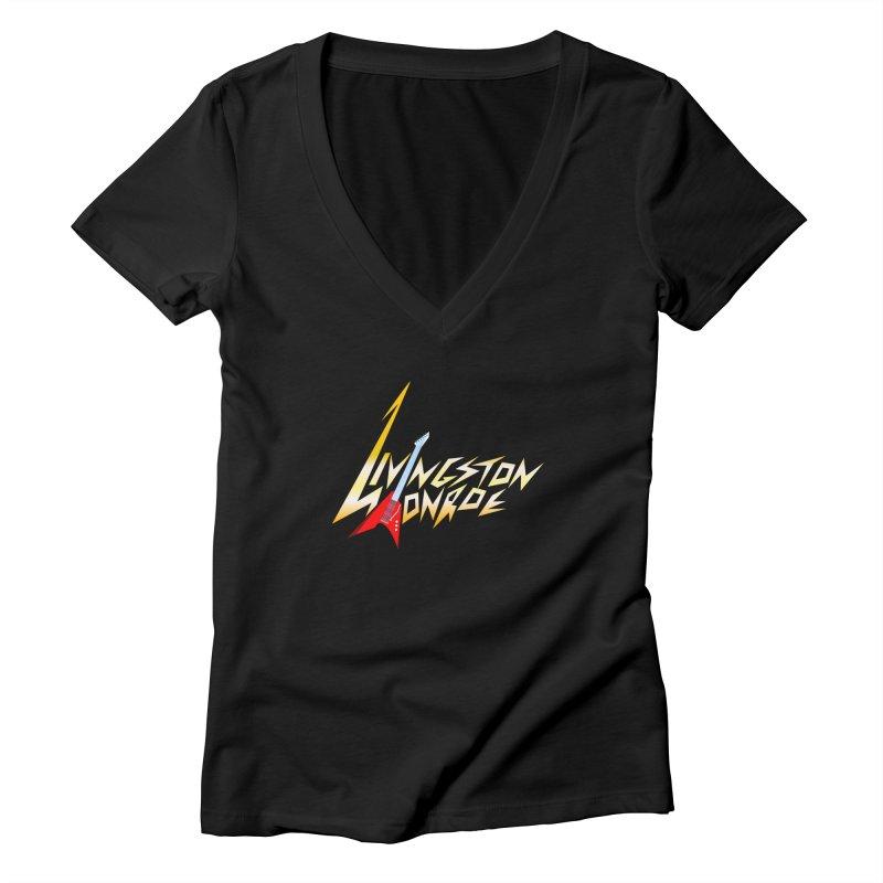 Livingston Monroe, the rock band in the novel, Whispers On A String (design by David Strover) Women's V-Neck by KathleenStone's Artist Shop