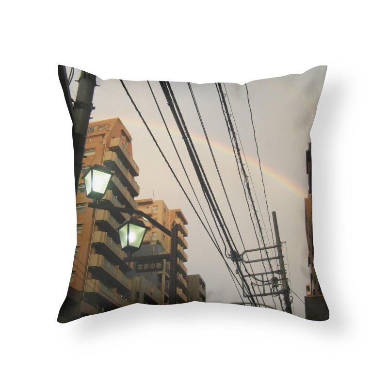 Rainbow Alley Home Throw Pillow by Katie Schutte Art