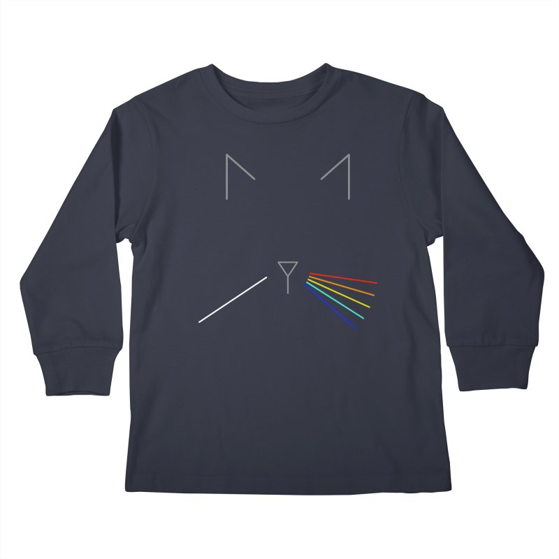 Dark Side of the Meow Kids Longsleeve T-Shirt by KEIN DESIGN