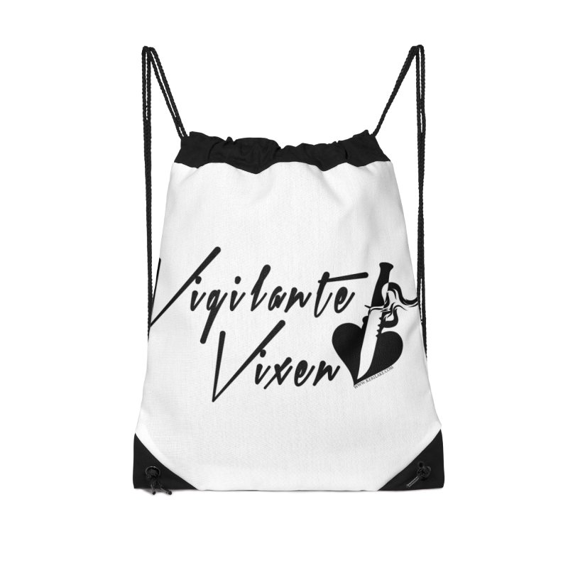 Vigilante Vixen - Black Accessories Drawstring Bag Bag by Keri Lake Author Shop