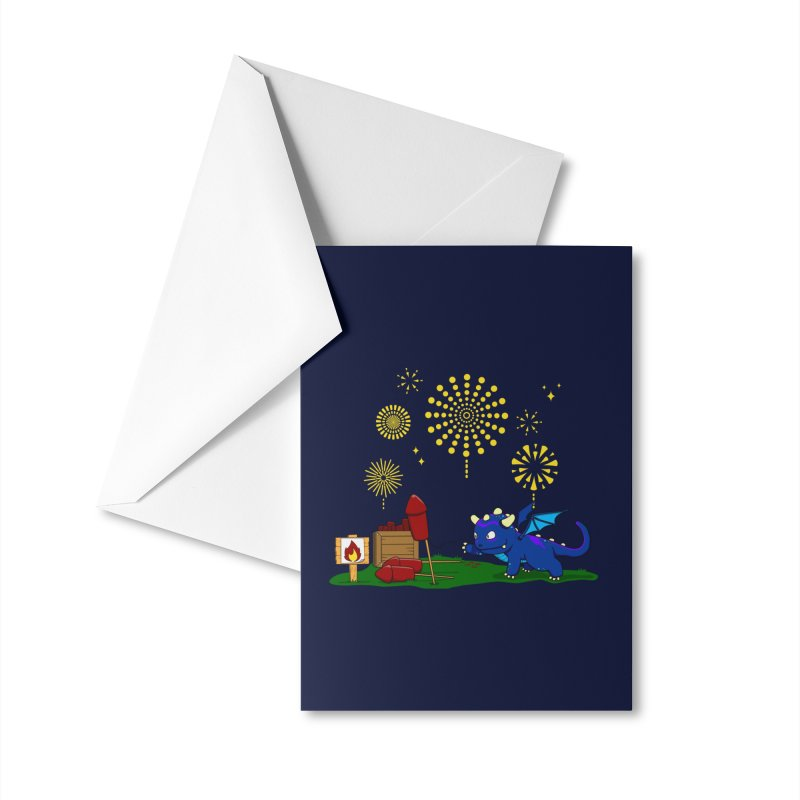 Delizia the Dragon - Fireworks Accessories Greeting Card by KhoCreations' Artist Shop