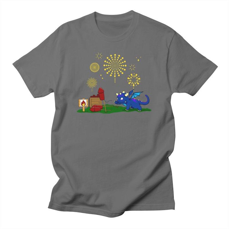 Delizia the Dragon - Fireworks Men's T-Shirt by KhoCreations' Artist Shop