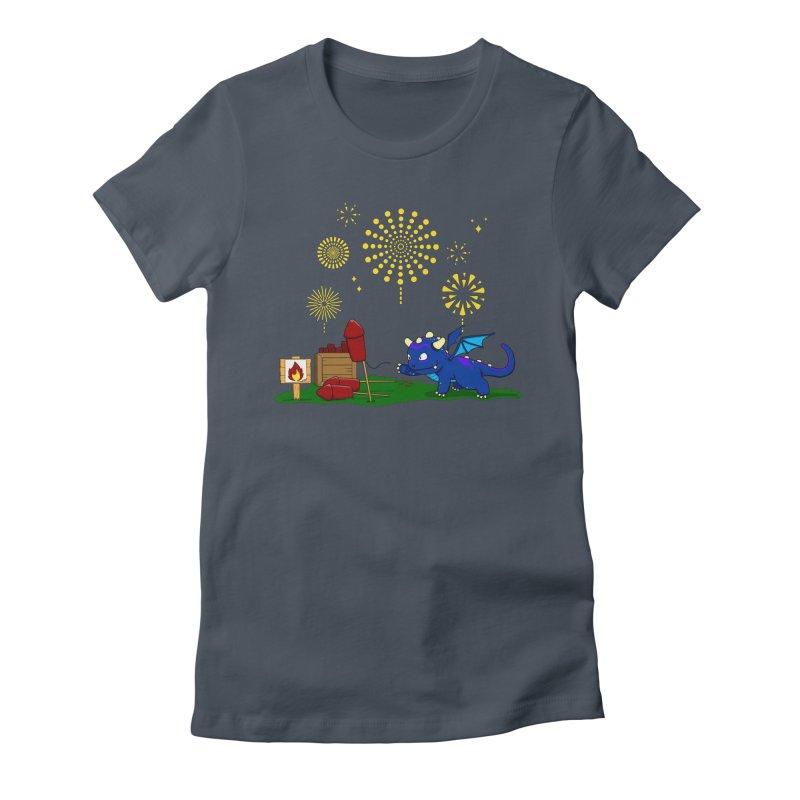 Delizia the Dragon - Fireworks Women's T-Shirt by KhoCreations' Artist Shop