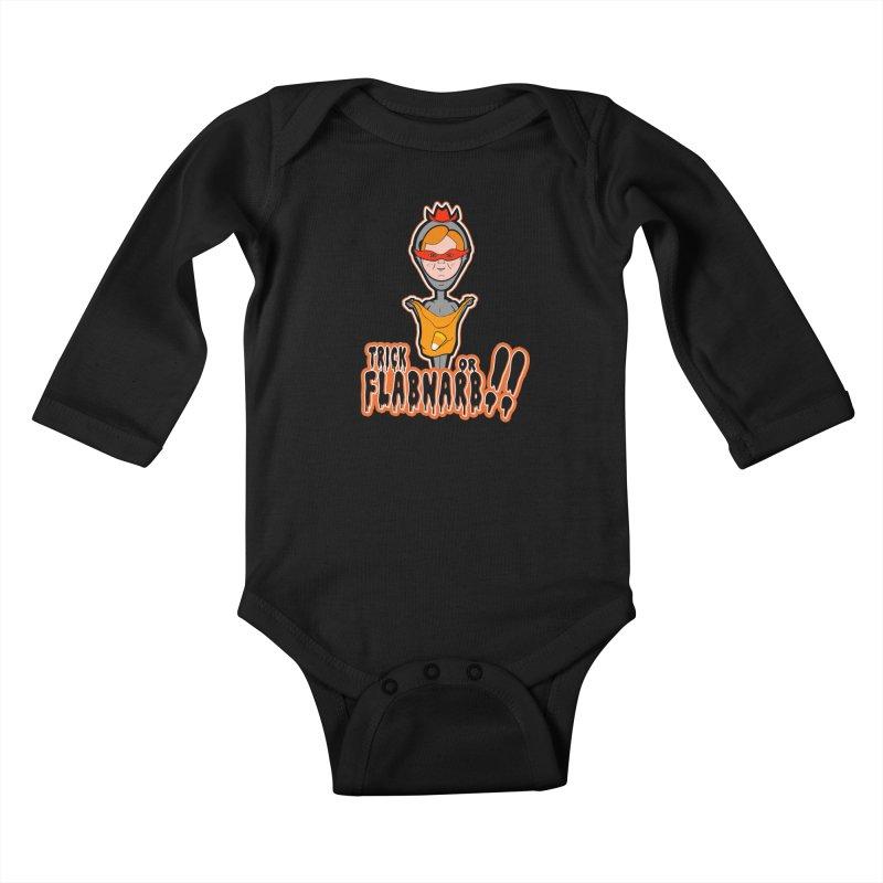 Trick or Flabnarb! (Cowboy) Kids Baby Longsleeve Bodysuit by Kid Radical