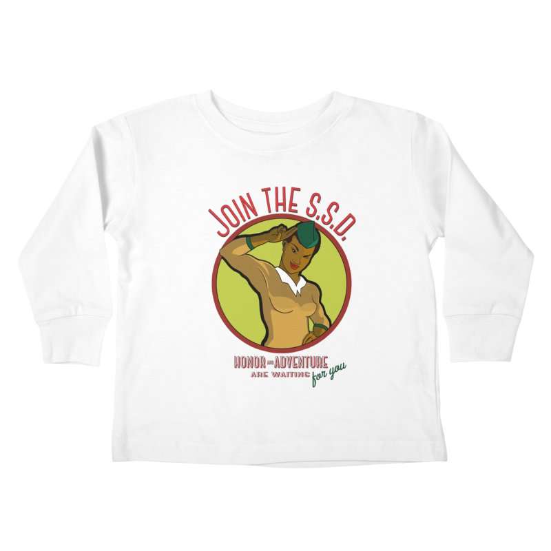 Reach for the Stars (Retro Space Officer) Kids Toddler Longsleeve T-Shirt by Kid Radical