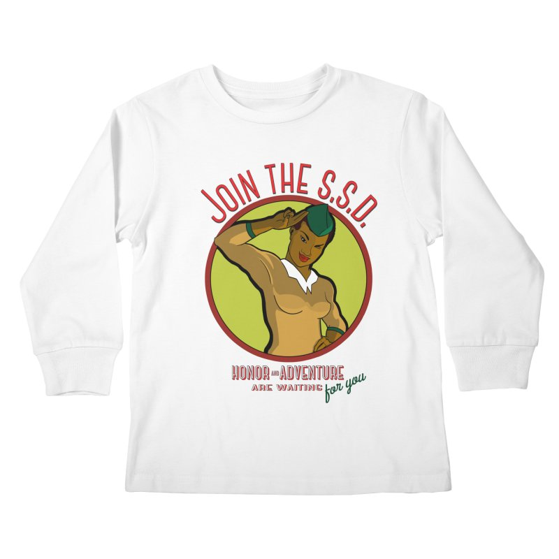 Reach for the Stars (Retro Space Officer) Kids Longsleeve T-Shirt by Kid Radical