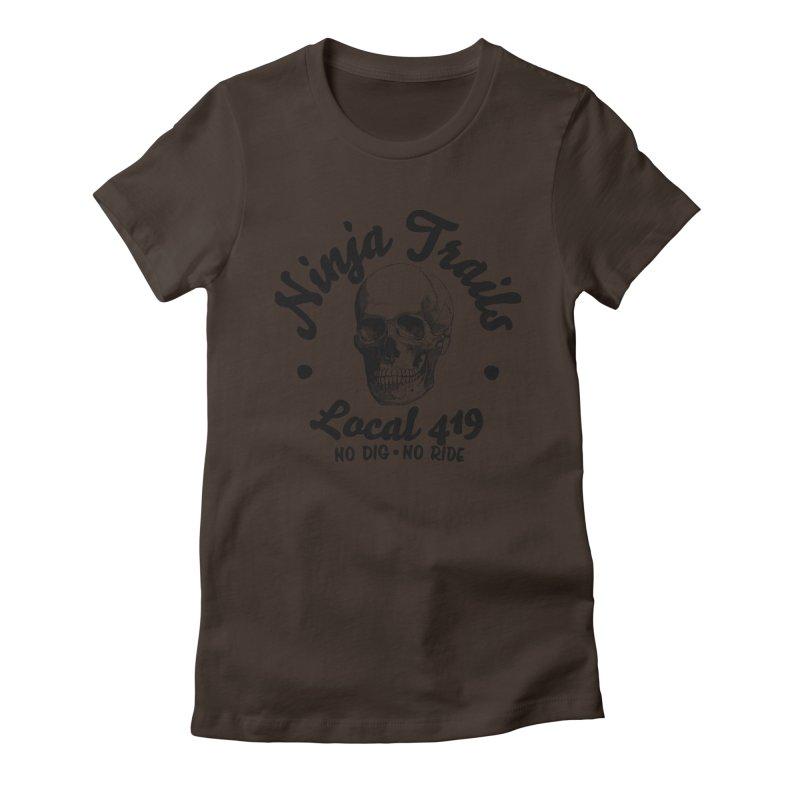 Ninja Trails (black print) Women's Fitted T-Shirt by KingKyle's Artist Shop