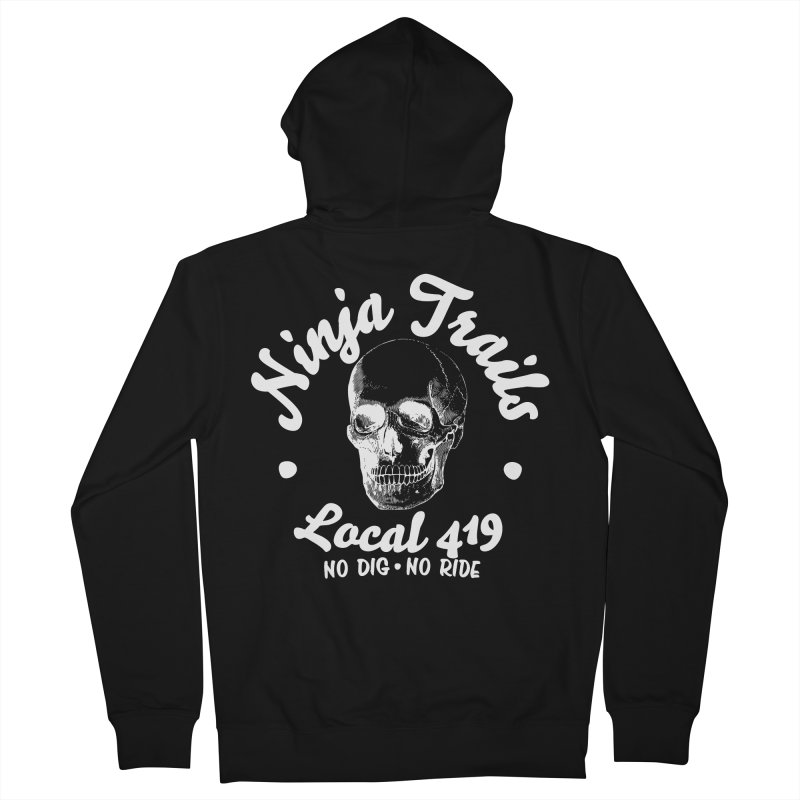Ninja Trails (white print) Women's French Terry Zip-Up Hoody by KingKyle's Artist Shop