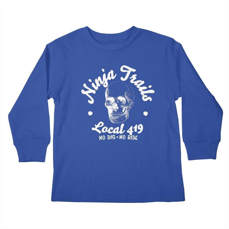Ninja Trails (white print) Kids Longsleeve T-Shirt by KingKyle's Artist Shop