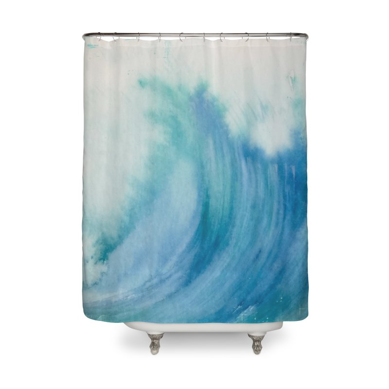 Watercolor Wave  Home Shower Curtain by Kingdomatheart's Artist Shop