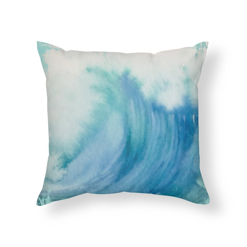 Watercolor Wave  Home Throw Pillow by Kingdomatheart's Artist Shop