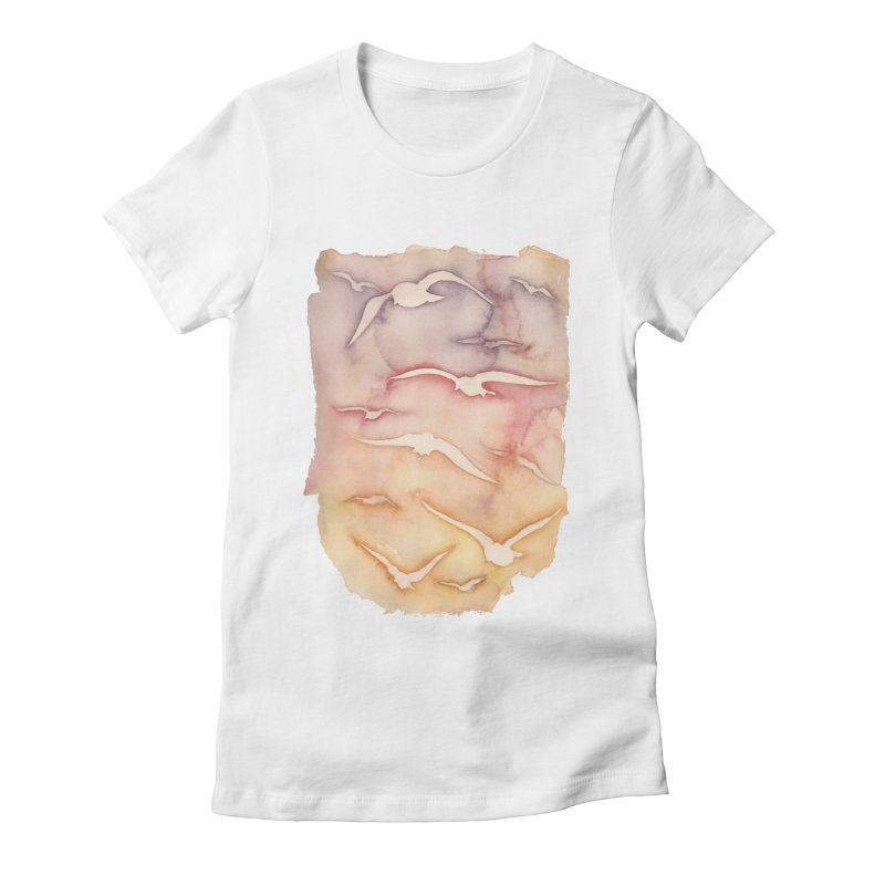 Sunset Watercolor Women's Fitted T-Shirt by Kingdomatheart's Artist Shop