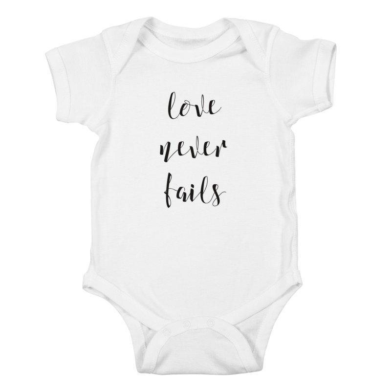 Love never fails Kids Baby Bodysuit by Kingdomatheart's Artist Shop