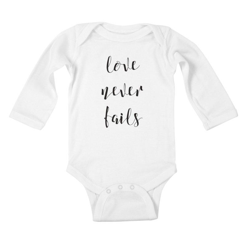 Love never fails Kids Baby Longsleeve Bodysuit by Kingdomatheart's Artist Shop