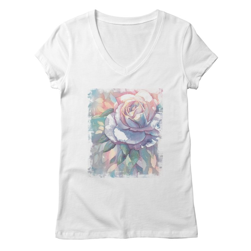 Watercolor Rose Women's V-Neck by Kingdomatheart's Artist Shop